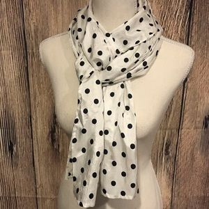 Accessories - White and Black Polka Dot Scarf Women's Polyester